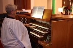Pamela at the St. Luke organ